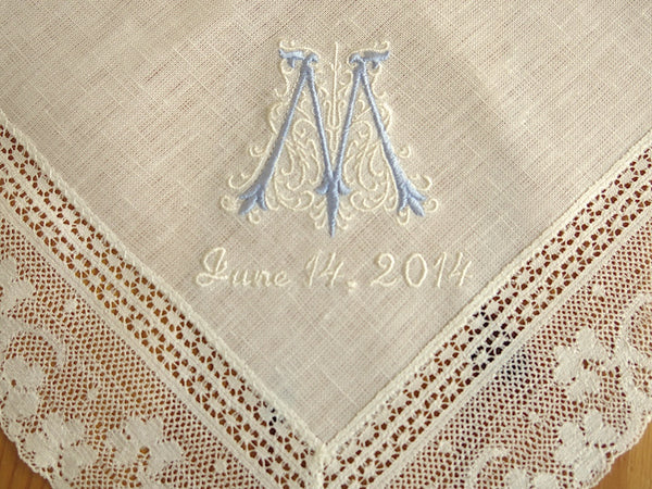 Ivory Color Irish Linen Lace Handkerchief with Classic Zundt 1-Initial Monogram