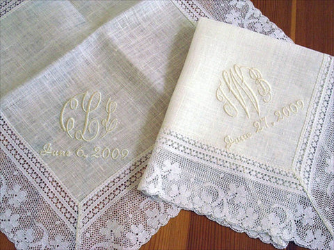 Ivory Color Irish Linen Lace Handkerchief with 3-Initial Monogram and Date