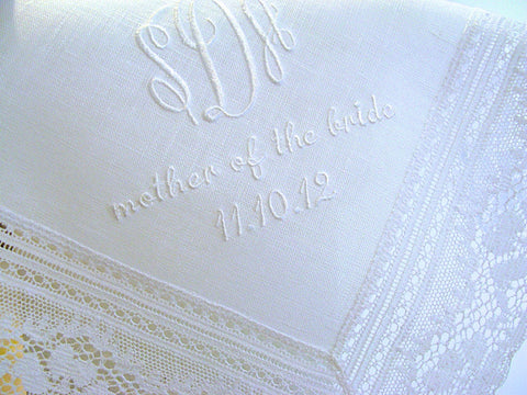 White Irish Linen Daisy Lace Handkerchief with Monogram, Mother of the Bride/Groom, Date