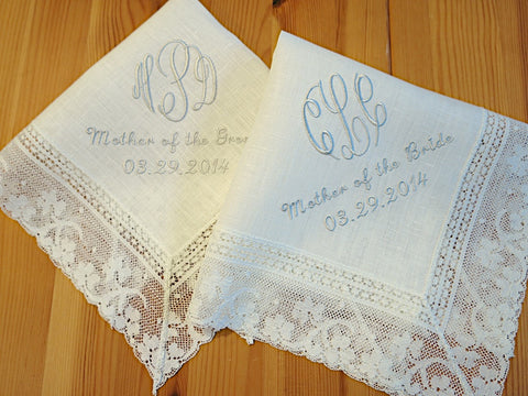 Ivory Color Irish Linen Handkerchief with 3-Initial Monogram, Mother of the Bride/Groom and Date