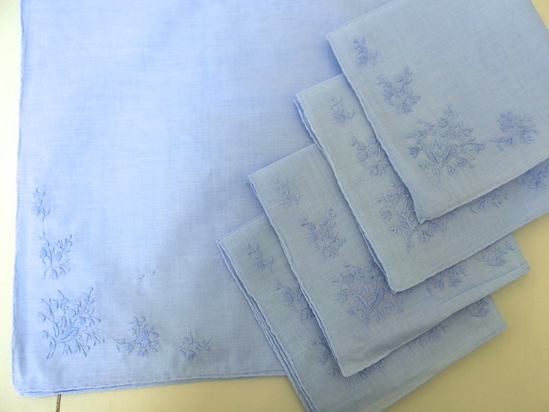 Set of 12 Blue Cotton Handkerchiefs with Corner Embroidery