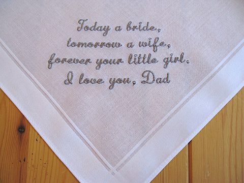 Wedding Handkerchief for Father of the Bride on White Men's Handkerchief with Custom Message