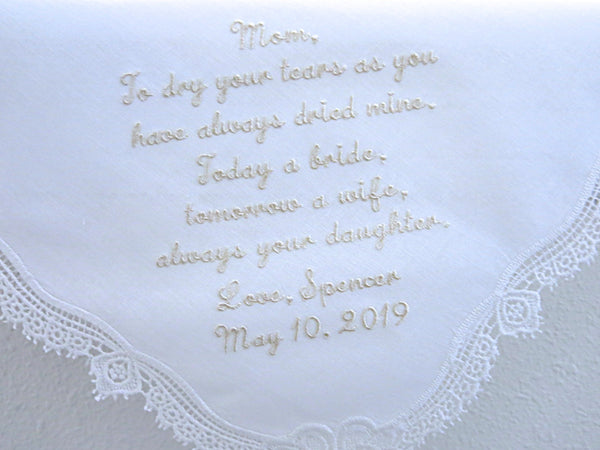 Wedding Handkerchief with Message for Mother of the Bride