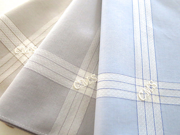 Set of 3 Assorted Color Fine Cotton Mens Handkerchiefs, Style No. 2049 with Monogram Style No. 3