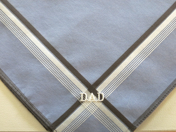 Set of 3 Assorted Color Fine Cotton Mens Handkerchiefs, Style No. 2055