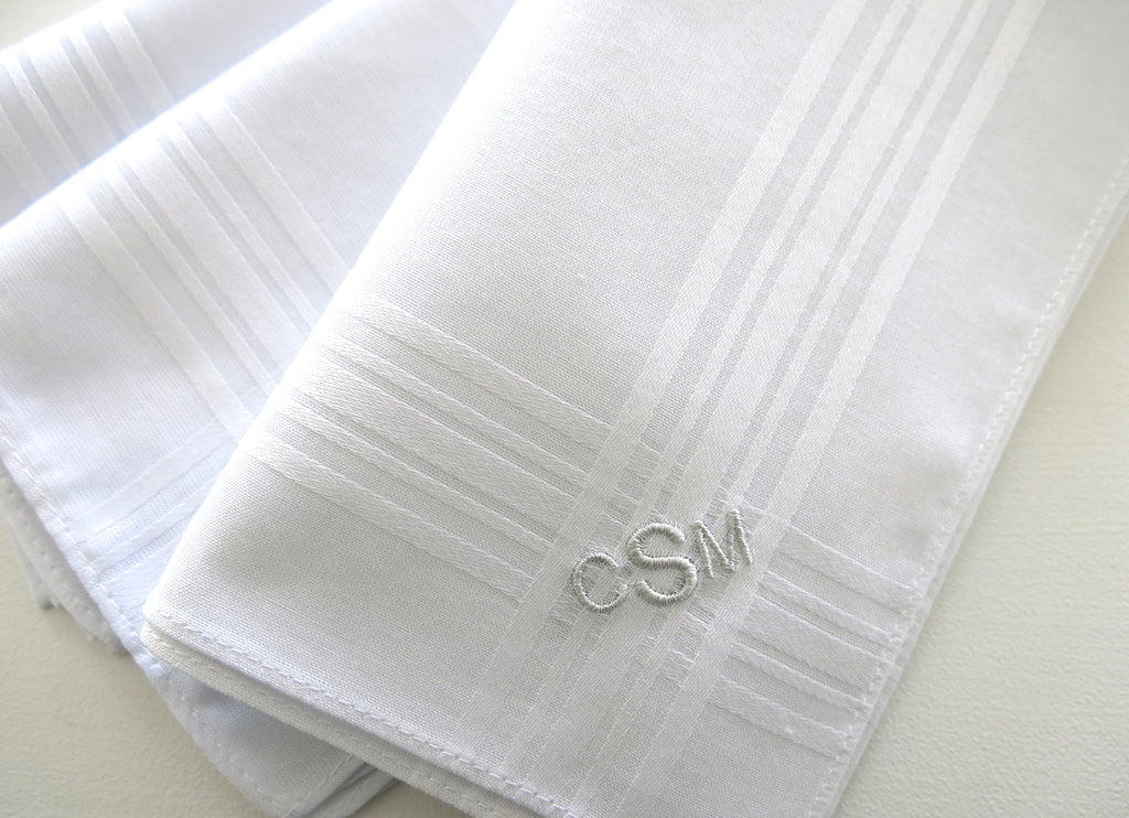 Set of 3 Fine Cotton Mens Monogrammed Handkerchiefs, Style No. 221