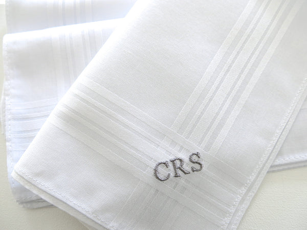 Set of 3 Fine White Cotton Mens Handkerchiefs, Style No. 221 with Monogram Style No. 3