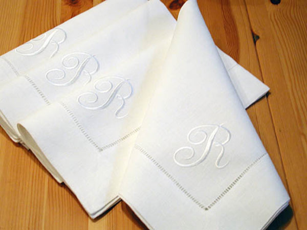 European Dinner Size Linen Napkins with 1 Initial, set of 4