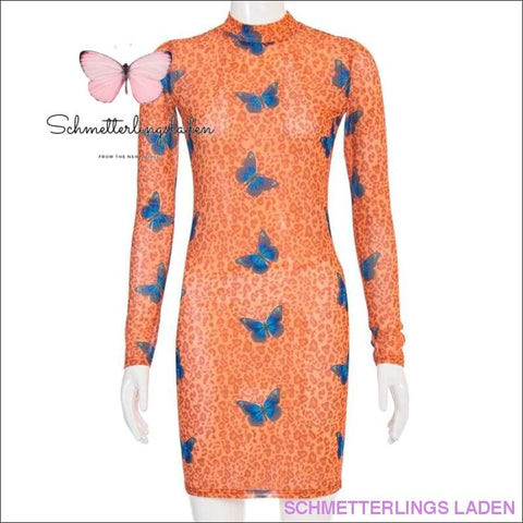 KURZES SEXY SCHMETTERLING KLEID - ORANGE | Schmetterlingsladen
