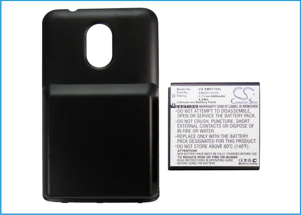 2400mAh Li-ion Cover + High Capacity Battery Sprint Samsung Epic Touch 4G, Galaxy S II, SPH-D710