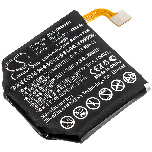 400mAh BL-S7 Battery for LG W200, W280, W280A Urbane 2nd Edition LTE Watch