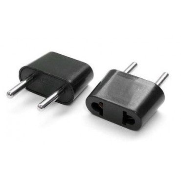 Set of Two (2) International Travel Power Plug adapter American US 2 Blade to European Euro 2 prong
