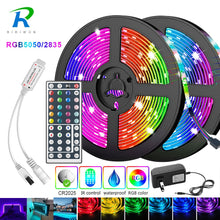 Lade das Bild in den Galerie-Viewer, 5m 10m 15m 20m LED Strip 5050 2835 IP20 RGB Strip LED Light Flexible Ribbon Stripe DC 12V RGB Diode Tape IR Controller Adapter