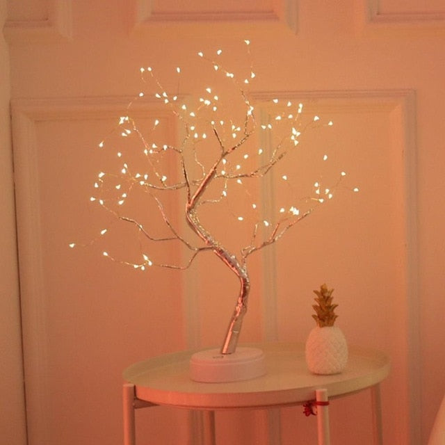 DIY Creative Bonsai LED Night Light USB Colorful Christmas Tree Lights Lamp Touch Switch Starry Fairy Lights For Home Decoration