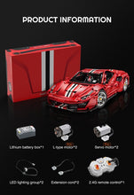 Lade das Bild in den Galerie-Viewer, DoubleE/CaDA C61042 RC high techMOC Super Racing Car Master 488 Model Remote Control 3229Pcs 1:8  Building Block Car Toy Set
