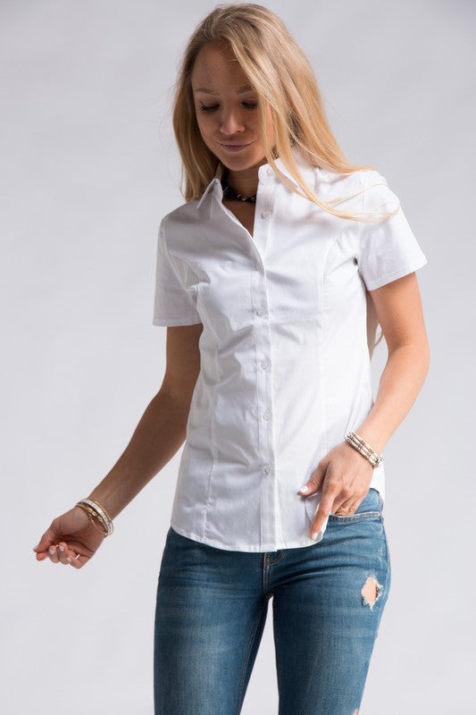 Short Sleeve White Button Down
