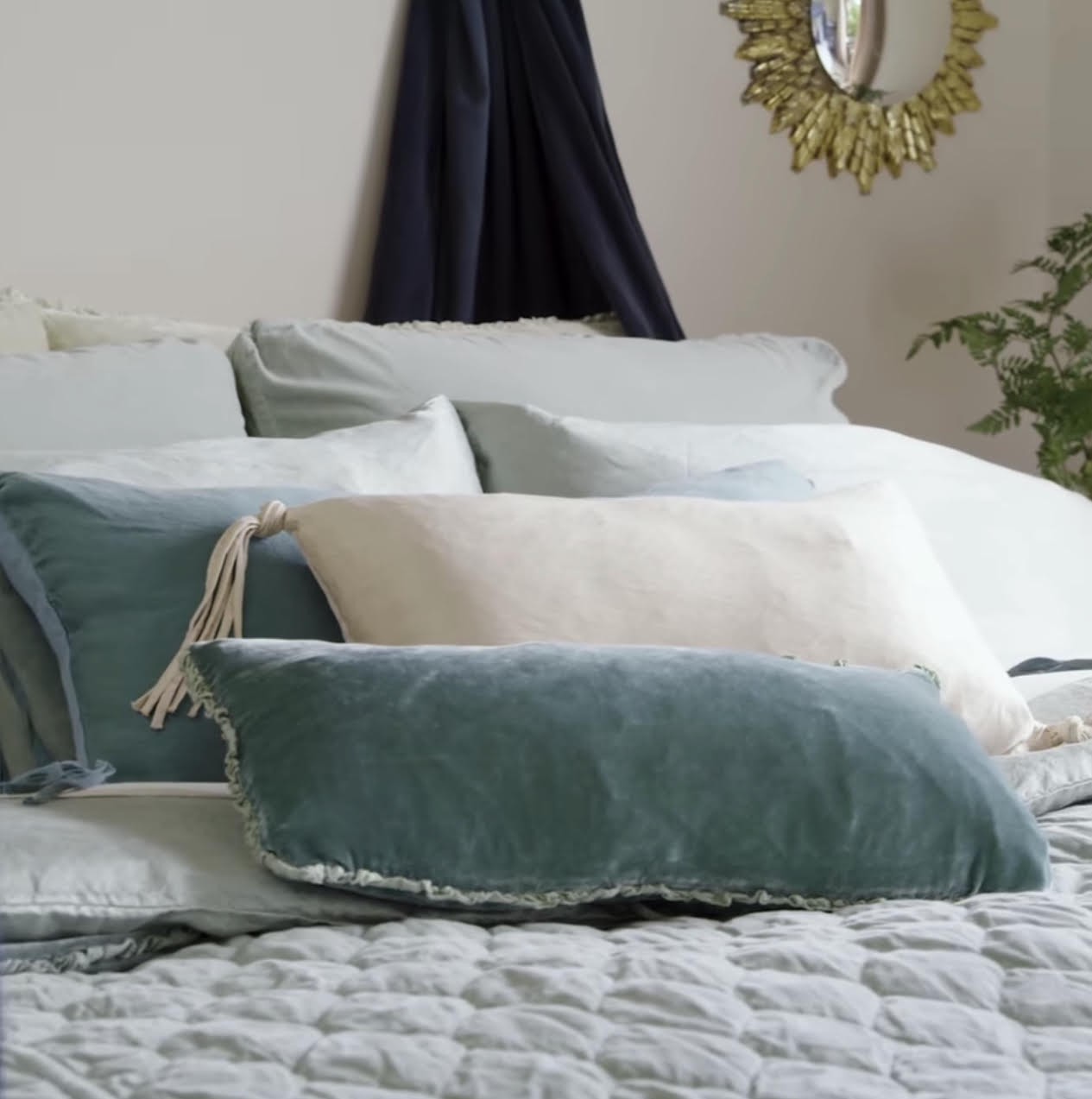 Gorgeous Teal Linens and Throw Pillows by Bella Notte available at La Farre Markt in Trussville, Alabama