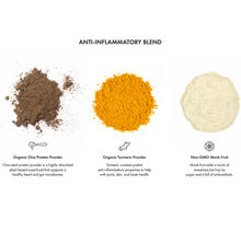 Load image into Gallery viewer, 3 Ingredients in Anti-Inflammatory Blend; Chia seed powder, turmeric powder, monk fruit