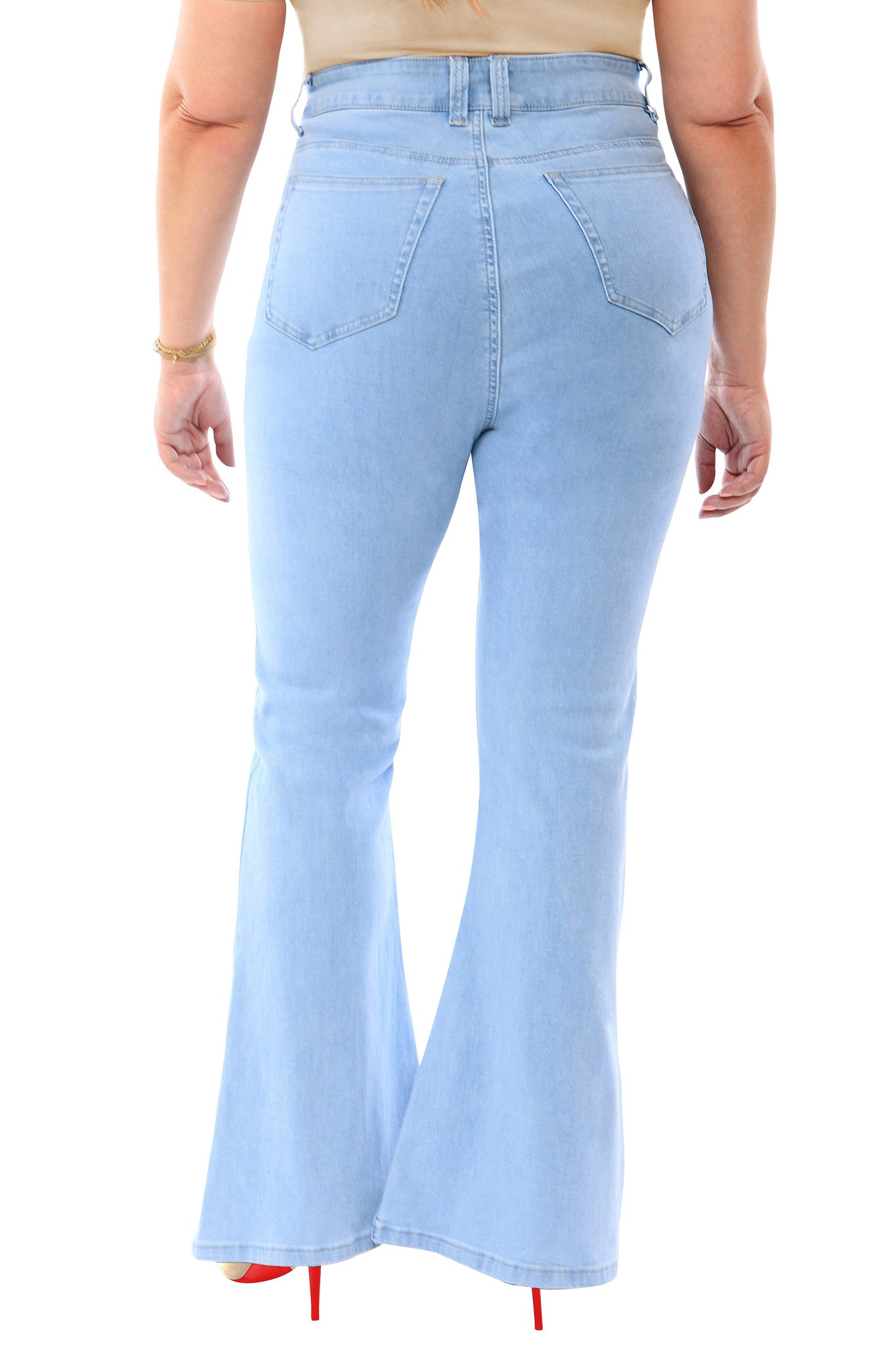 360 Stretch High Rise Flea Market Flare Jeans in Sky Bleach Blue ... a63bef1b26