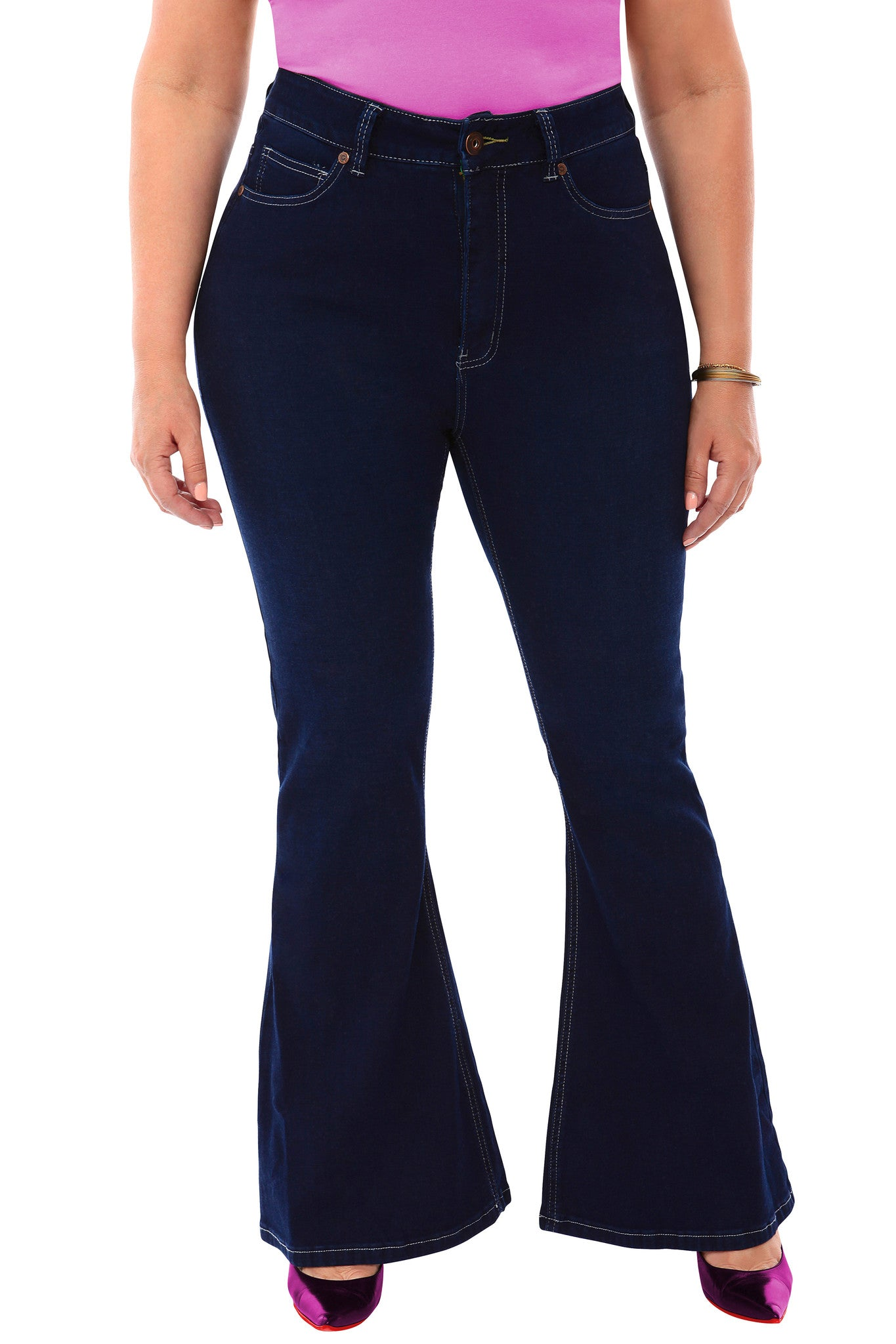 360 Stretch High Rise Flea Market Flare Jeans in Blue Depths - SVOBODA 17d34ea89f