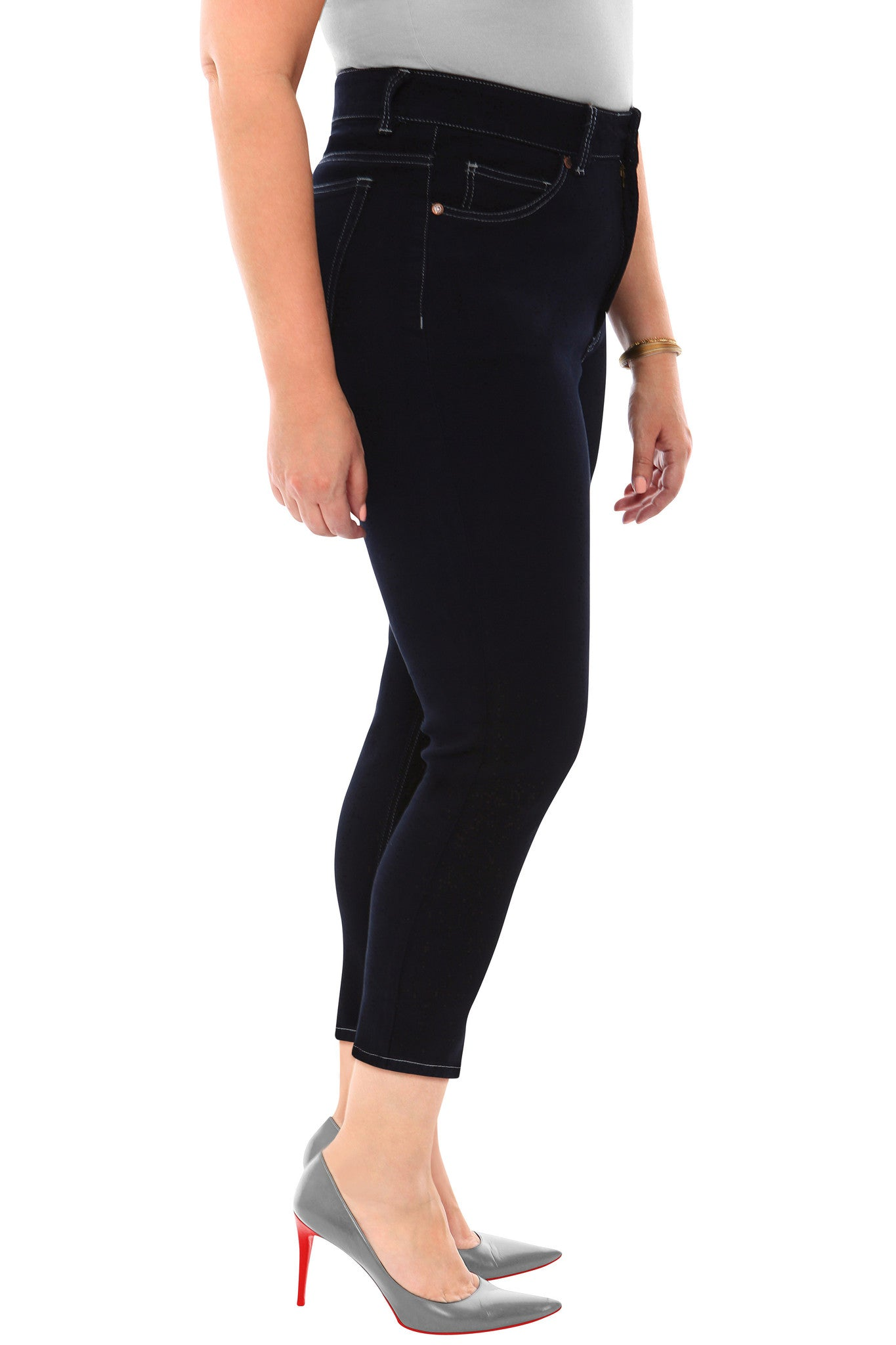 Black High Rise Ankle Skinny Plus Size Jeans or Jeggings