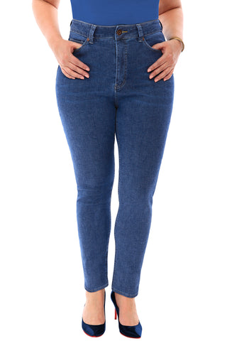 360 Stretch High Rise Ultra Skinny Denim Jeans (Jeggings) in Medium Blue