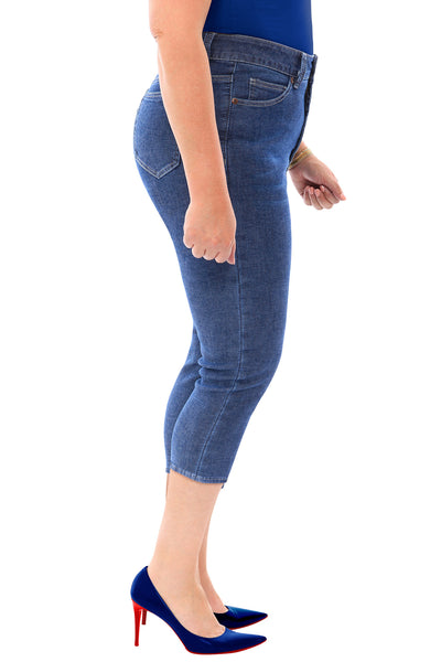 Medium Blue High Rise Cropped Skinny Plus Size Jeans
