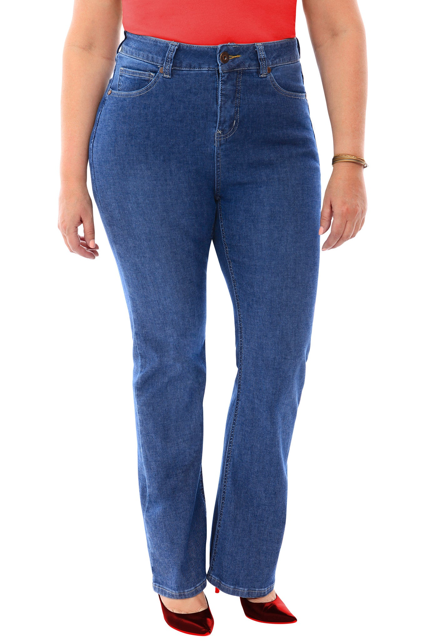 360 Stretch High Rise Straight Denim Jeans in Medium Stone