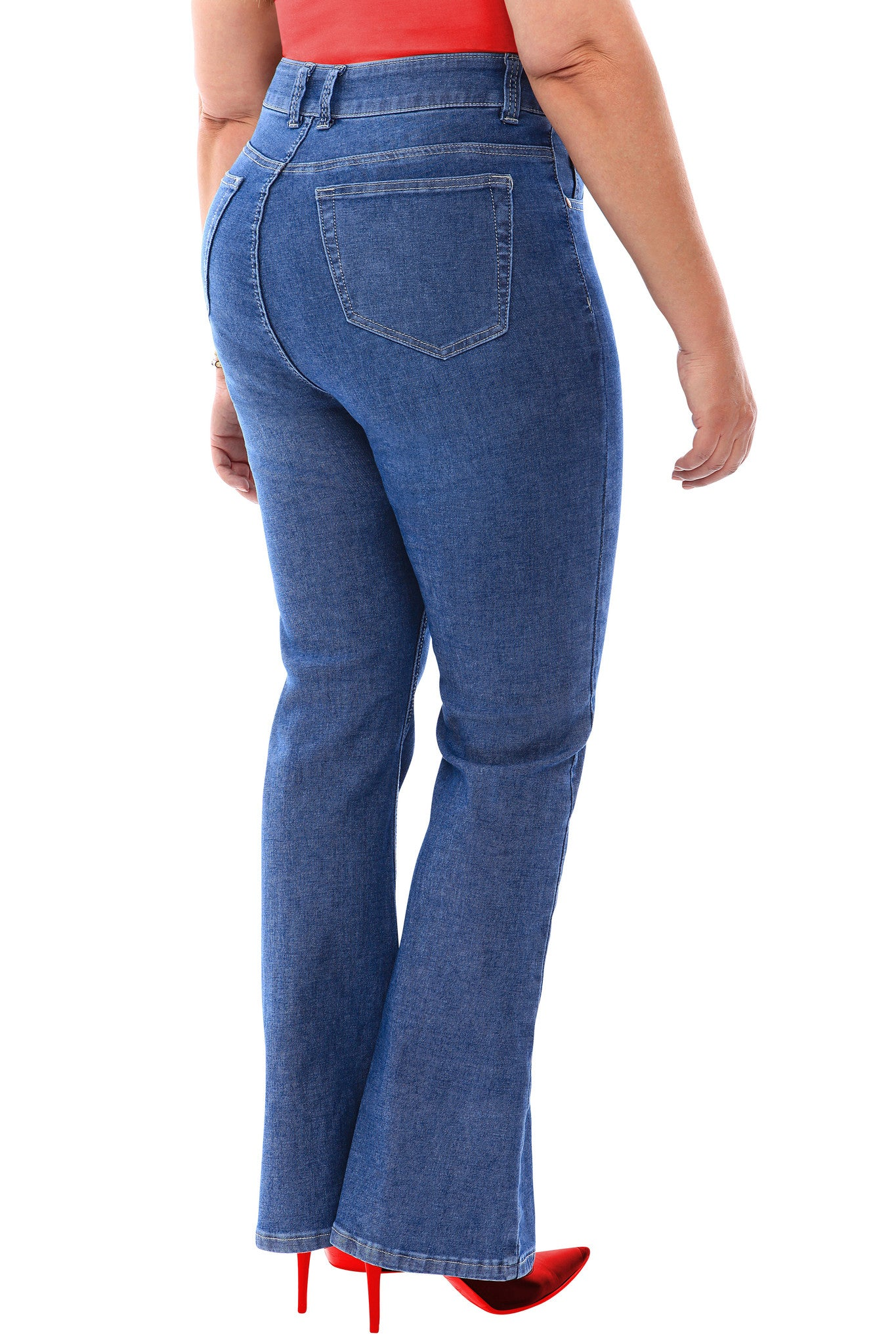 360 Stretch High Rise Flea Market Flare Jeans in Medium Blue