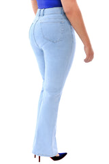 360 Stretch High Rise Straight (To Slight Boot Cut) Denim Jeans in Sky Bleach Blue