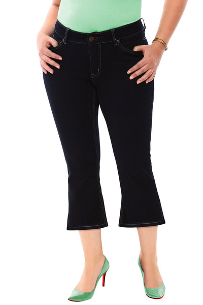360 Stretch Mid Rise Cropped Flare Denim Jeans in Black Onyx