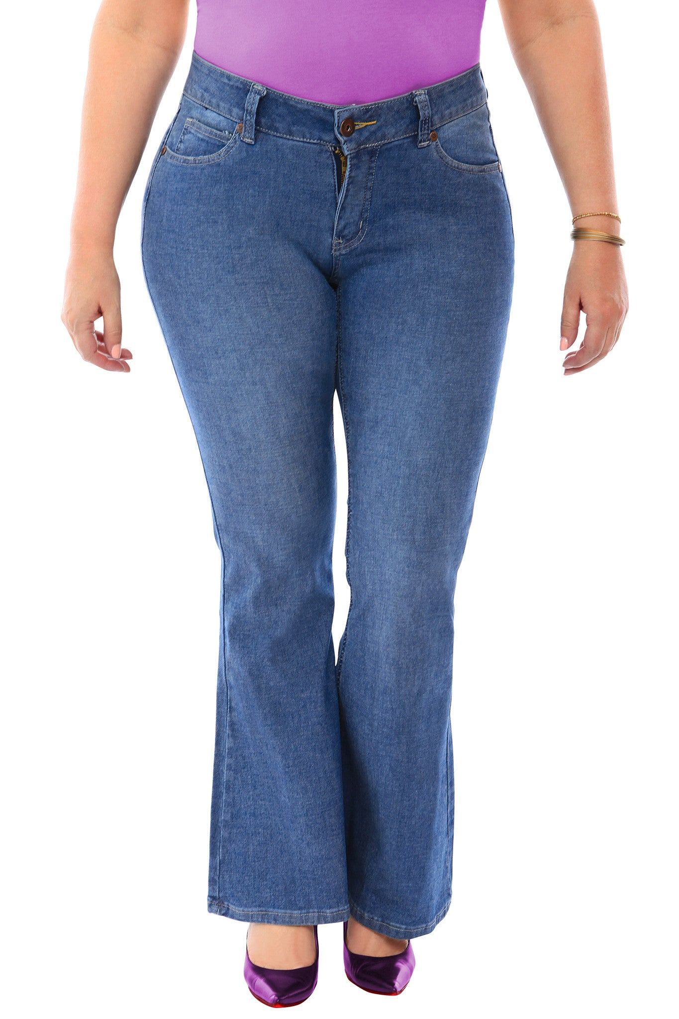 360 Stretch Mid-Rise 70's Inspired Flare Denim Jeans in Medium Blue