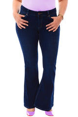 360 Stretch Mid-Rise 70's Inspired Flare Denim Jeans in Blue Depths