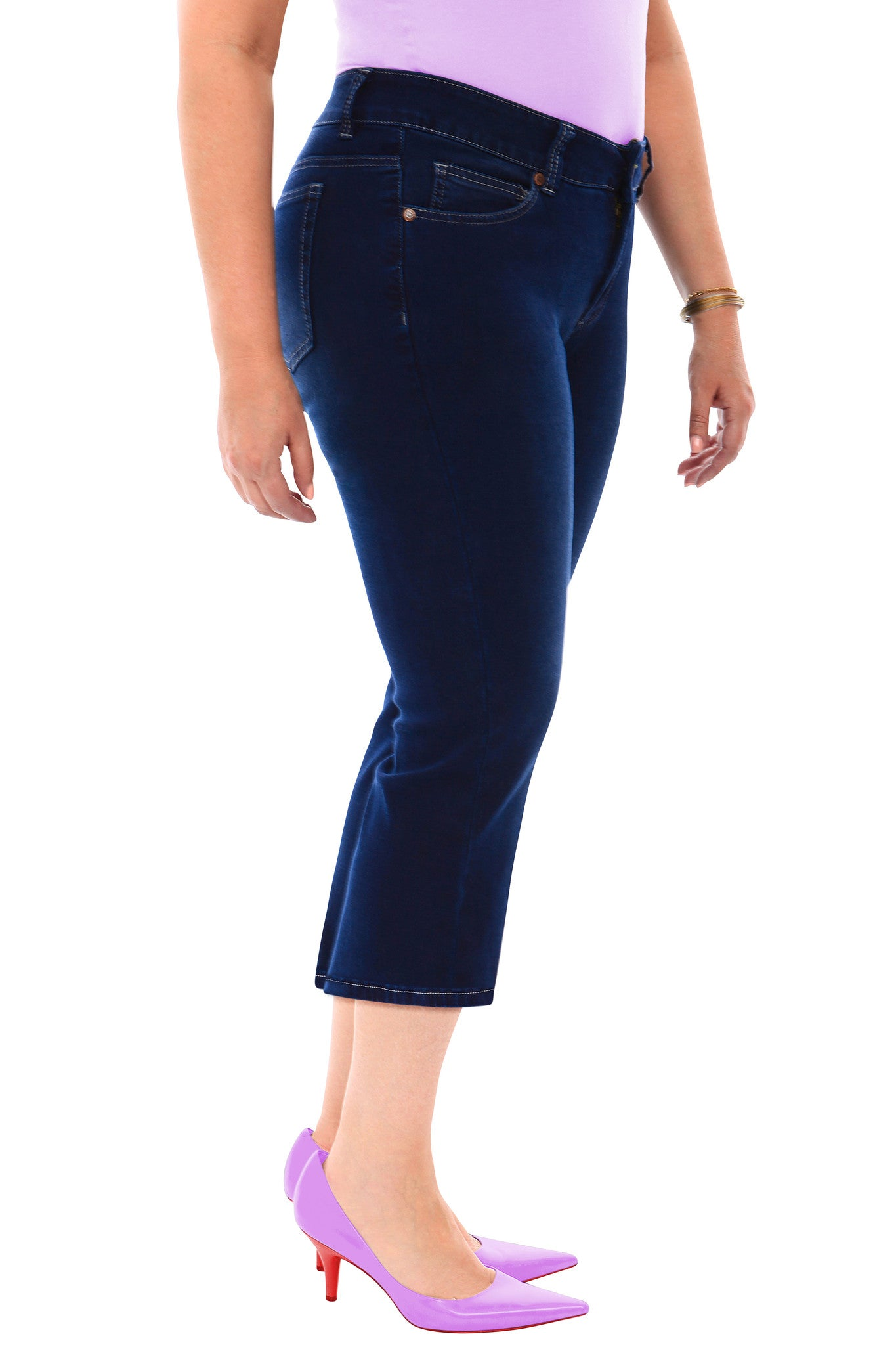 360 Stretch Mid Rise Cropped Flare Denim Jeans in Blue Depths
