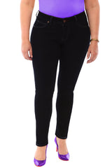 360 Stretch Mid Rise Ultra Skinny Denim Jeans (Jeggings) in Black Onyx