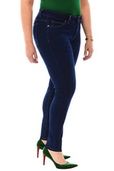 360 Stretch Mid Rise Ultra Skinny Denim Jeans (Jeggings) in Blue Depths