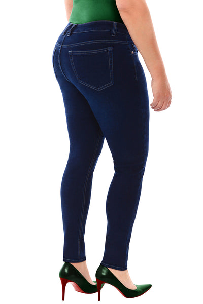 360 Stretch Mid Rise Ultra Skinny Denim Jeans (Jeggings) in Medium Stone Blue