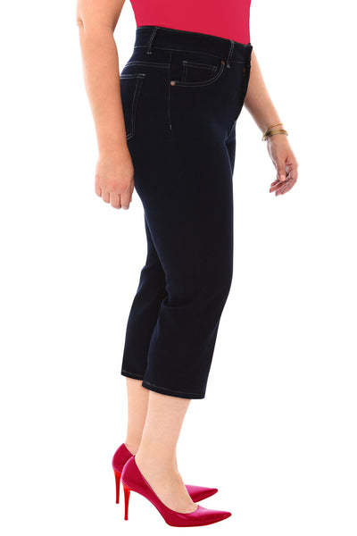 360 Stretch High Rise Straight Cropped (Capri) Denim Jeans