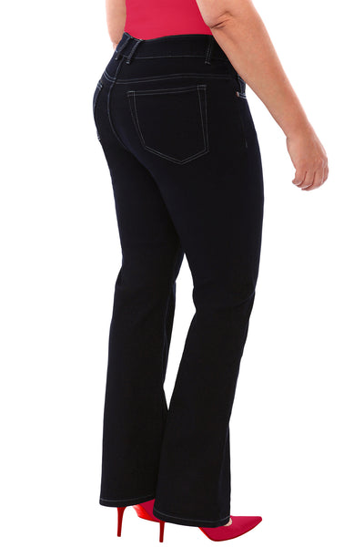 360 Stretch High Rise Straight Denim Jeans in Black Onyx