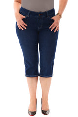 360 Stretch Mid Rise Straight Cropped Denim Jeans (Bermuda Shorts) in Blue Depths
