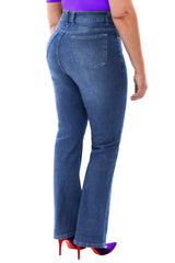 360 Stretch Mid-Rise Straight Denim Jeans in Medium Blue