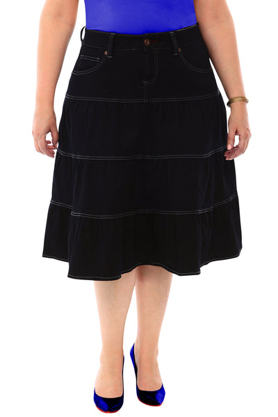 360 Stretch Midi Tiered Circle Skirt in Black Onyx