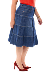 360 Stretch Midi Tiered Circle Skirt in Medium Blue