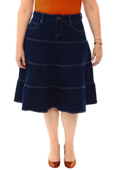 360 Stretch Midi Tiered Circle Skirt in Blue Depths