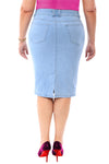 360 Stretch Knee Length Pencil Skirt in Sky Blue