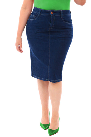 360 Stretch Knee Length Pencil Skirt in Blue Depths