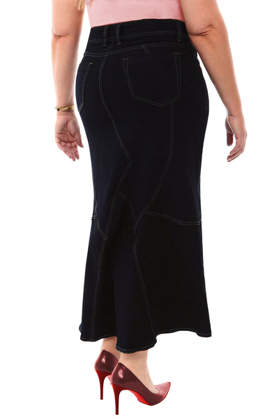 360 Stretch Tulip Maxi Skirt in Black Onyx