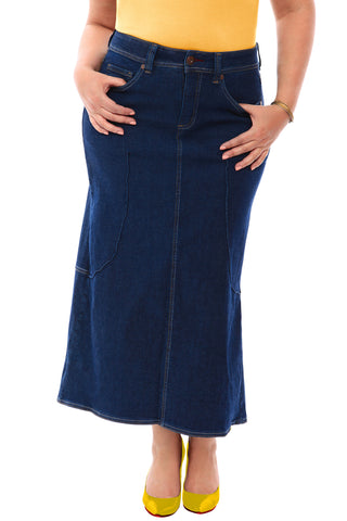 360 Stretch Tulip Maxi Skirt in Blue Depths