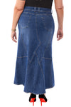 360 Stretch Tulip Maxi Skirt in Medium Blue