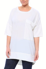 Crewneck Matte Crepe Tunic with Oversized Pocket and Half Sleeves in Off White